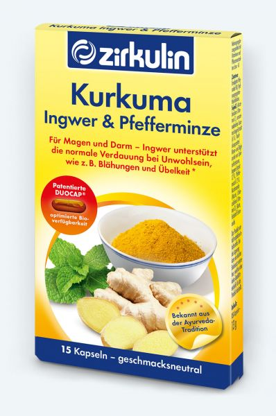 Zirkulin Kurkuma Kapseln mit Ingwer & Pfefferminze für die Verdauung