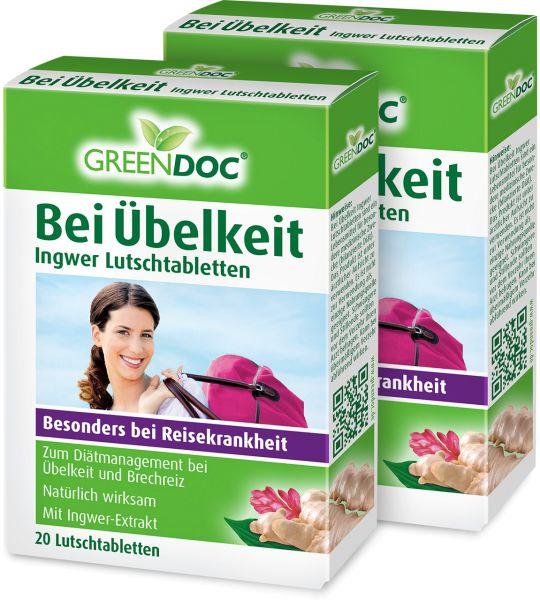 GreenDoc Bei Übelkeit Ingwer Lutschtabletten ▷ 2er Pack