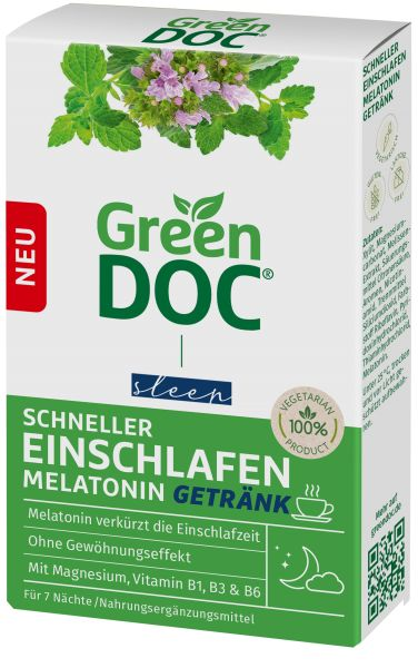 GreenDoc Schneller Einschlafen Melatonin Getränk mit Melisse