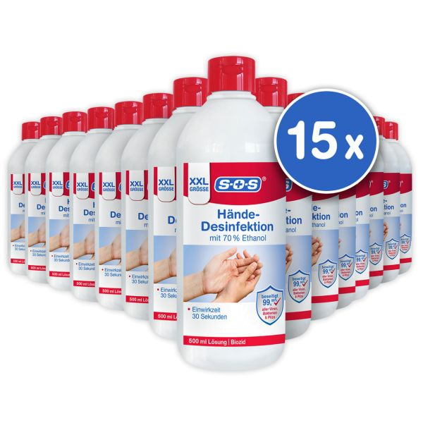 SOS Hände-Desinfektion XXL 500ml 15 Flaschen im Karton